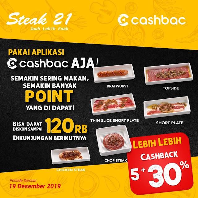 #Steak21 - #Promo Caschback 5% + Ekstra 30% s.d 120K Pakai Aplikasi Cashbac (s.d 19 Des 2019)