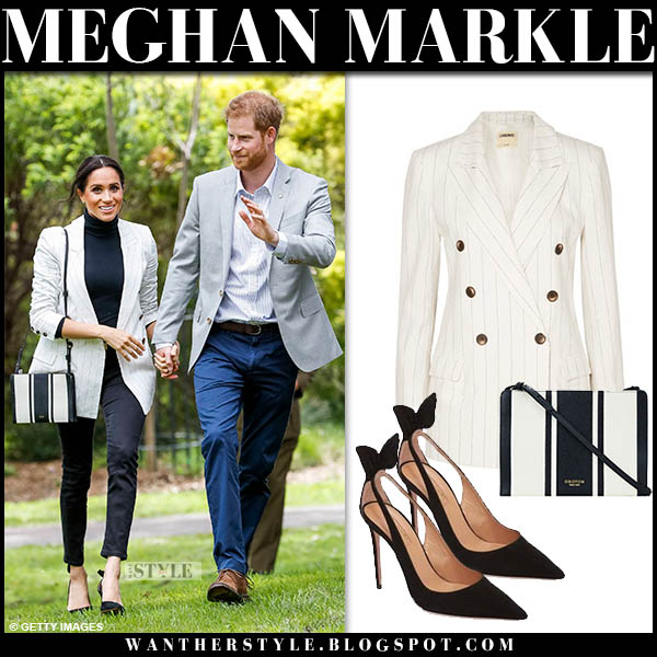 Meghan Markle in white striped lagence blazer, black skinny jeans and striped bag oroton australian tour outfits october 20