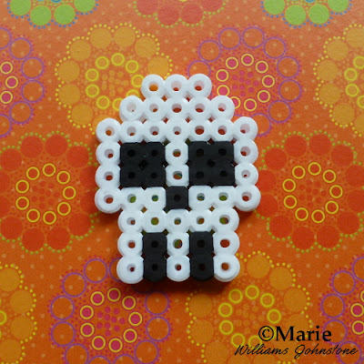 halloween perler bead designs white and black skull hama fused