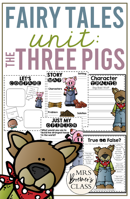 The Three Little Pigs Fairy Tales unit with Common Core aligned literacy activities for First Grade and Second Grade