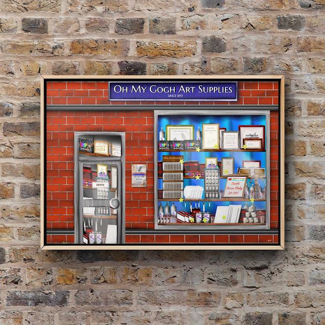 Art supply shop artwork, shop window artwork