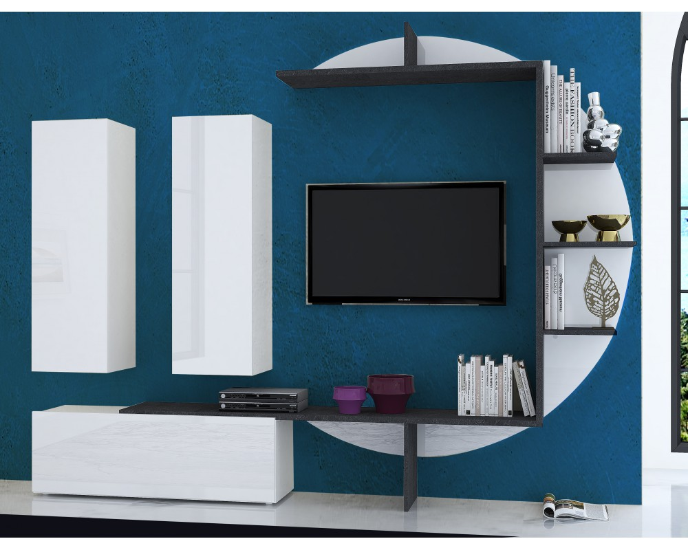 The best 30 tv units designs decor units for Meuble tv suspendu blanc