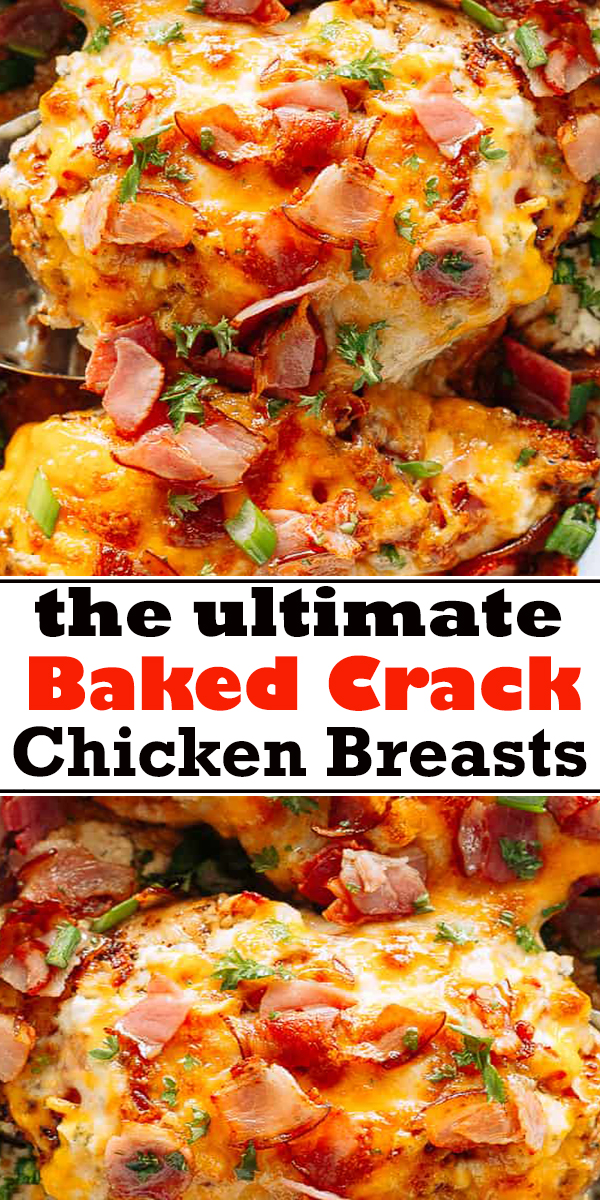 Baked Crack Chicken Breasts, also referred to as Ranch Chicken with Bacon, is a delicious and creamy dish loaded with cheese and bacon. #baked #bakedchicken #chicken #bacon #dinner