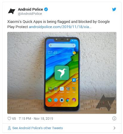 Aplikasi Quick Apps Milik Xiaomi Dikabarkan telah di Blokir Google