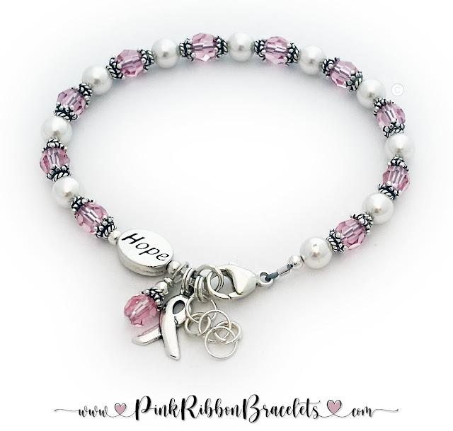 Hope Pink Ribbon Charm Bracelet