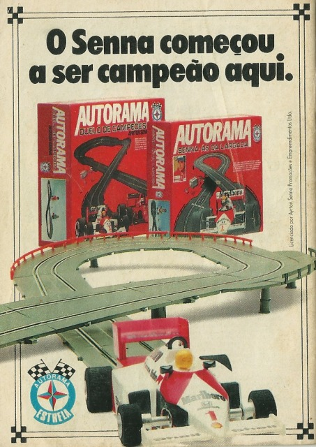 Propaganda antiga da Estrela para promover o Autorama assinado pelo Ayrton Senna