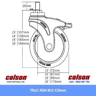 Bảng vẽ kích thước tấm lắp bánh xe cao su cọc vít có khóa chịu lực 70kg | STO-3854-448BRK4
