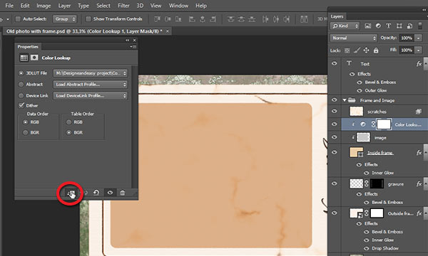 Clip Color Lookup layer to image layer