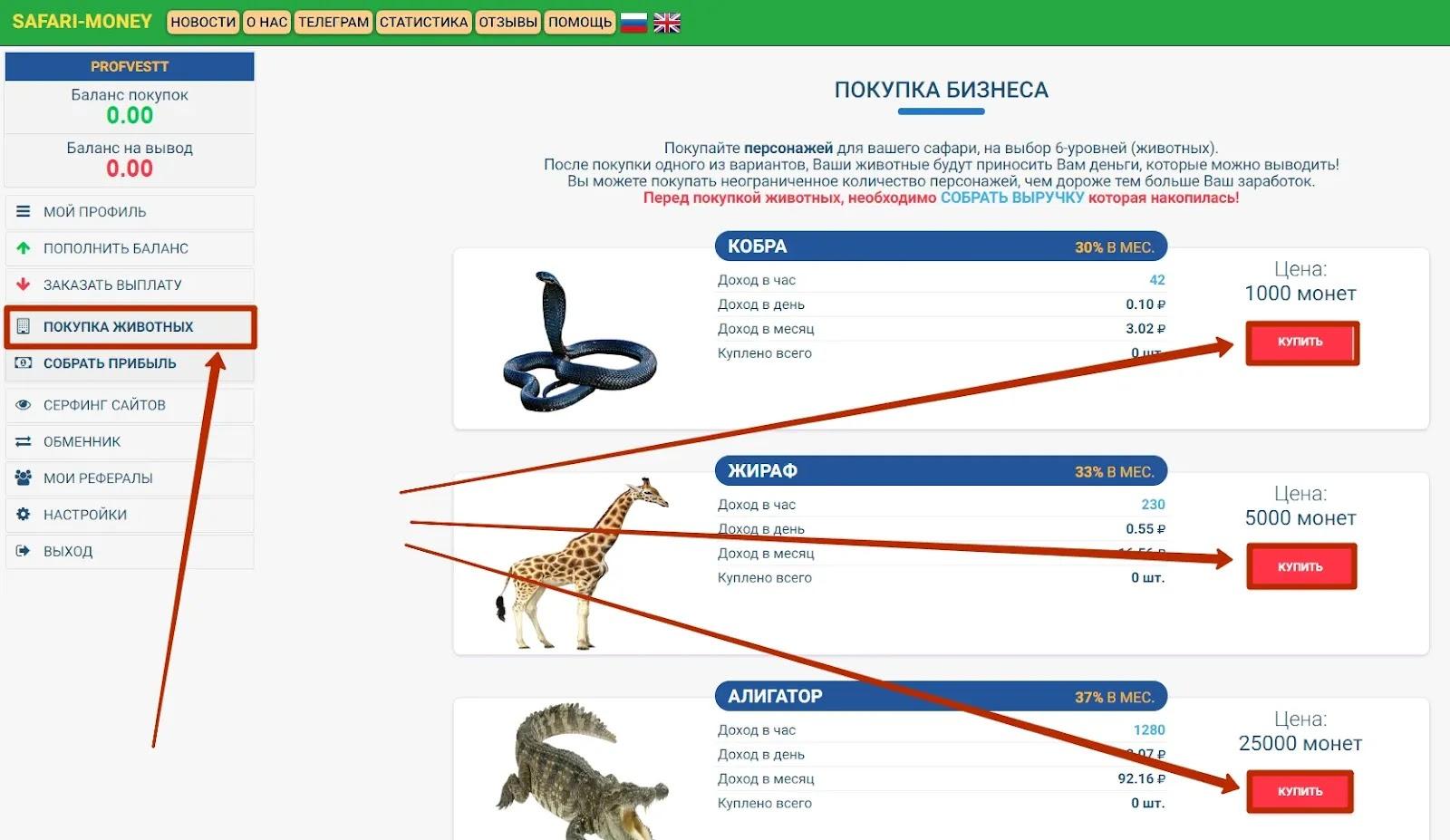 Внесение депозита в Safari-Money