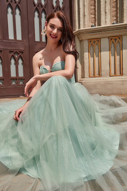 sexy light green prom dress with asymmetric skirt