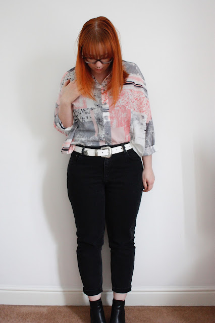 Asos outfit, shirt, mom jeans and white leather belt