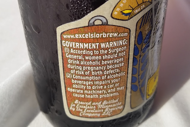 beer bottle label, government warning - Excelsior Bitteschlappe Brown Ale