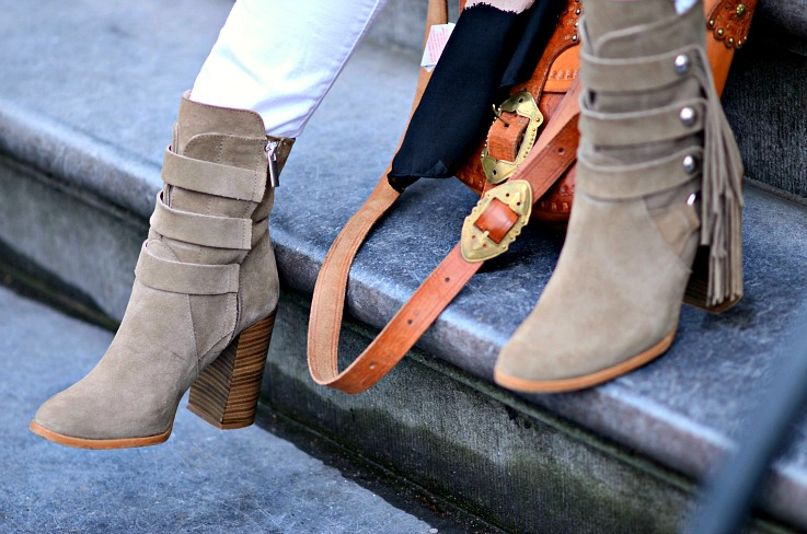 Zara Fringe beige ankle boots