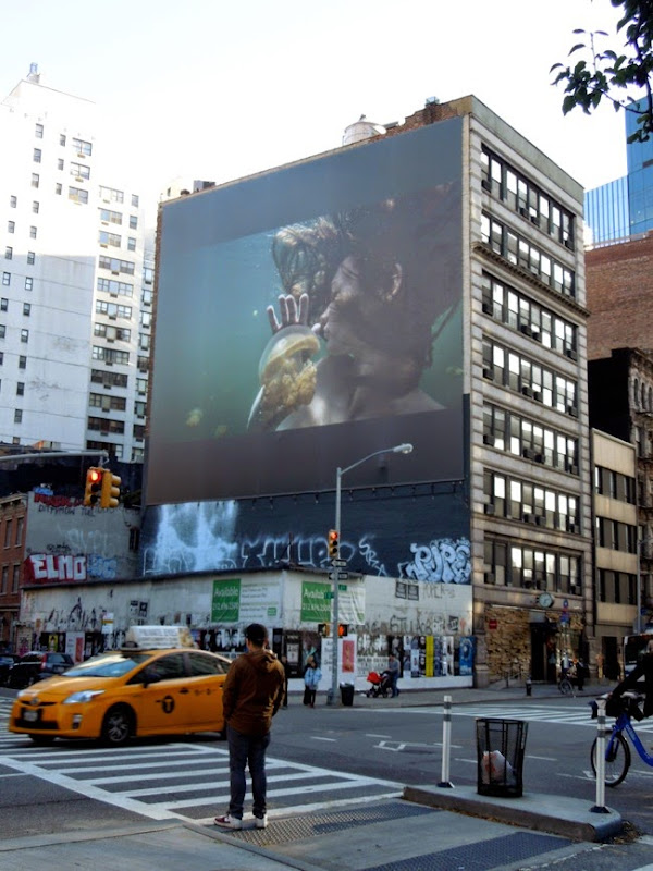 Giant Girl from Jellyfish Lake billboard NYC