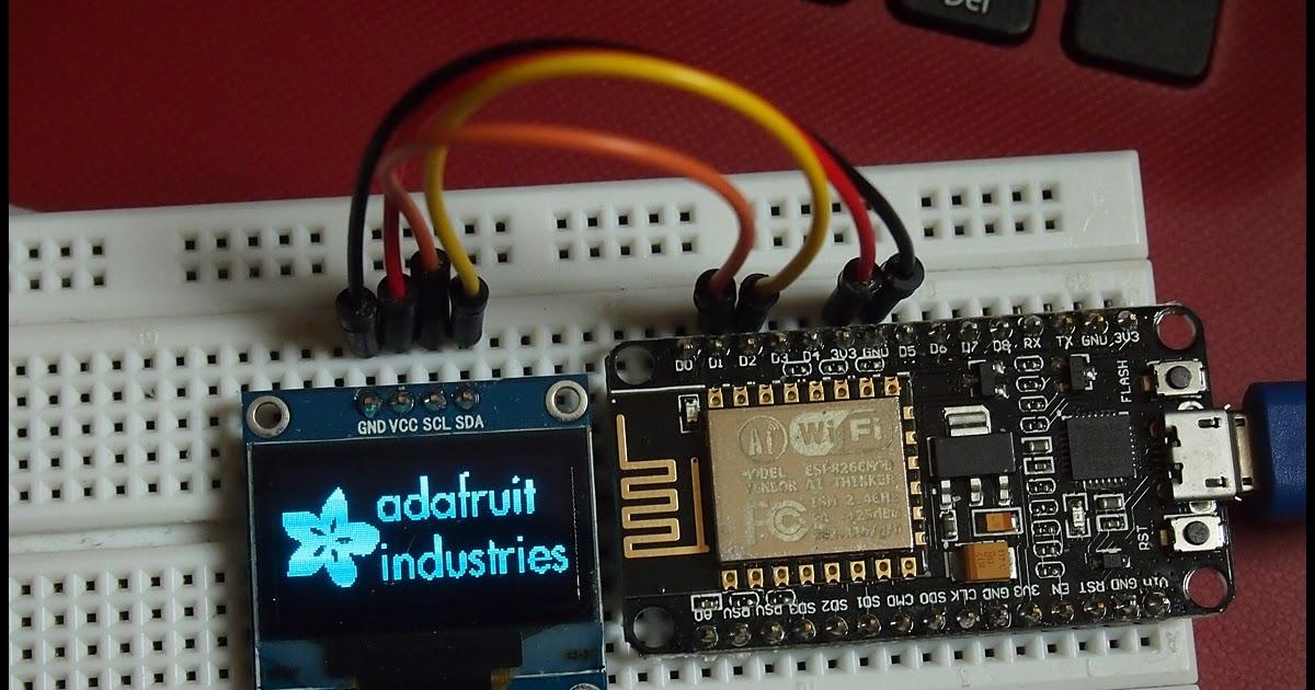 NodeMCU (ESP8266) to display on 128x64 I2C OLED, using Adafruit SSD1306 library