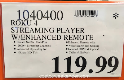 Deal for the Roku 4 Streaming Player With Enhanced Remote at Costco