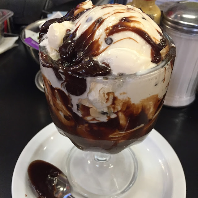 Hot fudge sundae with cookie dough ice cream Chick and Ruth's