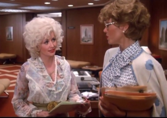 Dolly Parton and Jane Fonda in office from 9 to 5 movie
