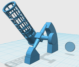 74-inch telescope and pier 3D model