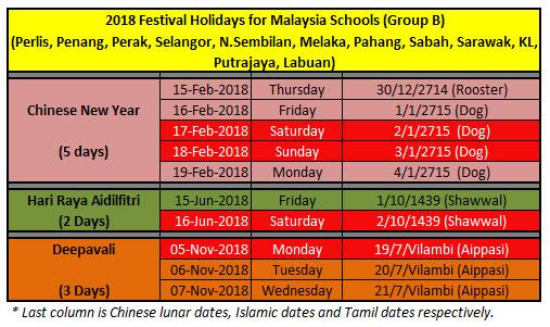 2018 holidays