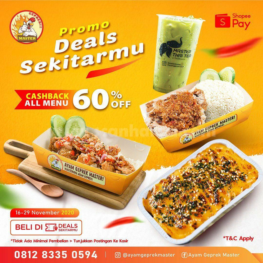 Promo Ayam Geprek Master: Diskon 60% dengan Voucher Deals ShopeePay