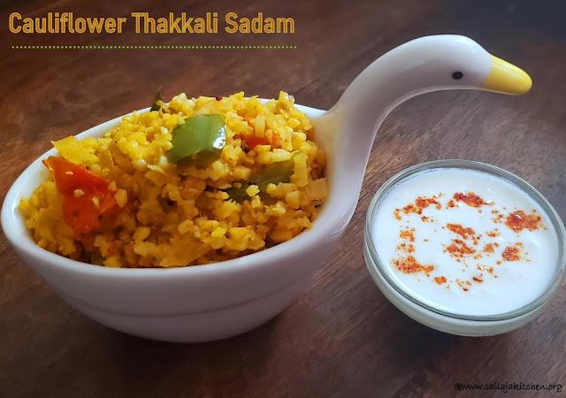 images of Thakkali Sadam Made With Cauliflower Rice / Tomato Rice With Cauliflower Rice / Thakkali Sadam / Tomato Rice