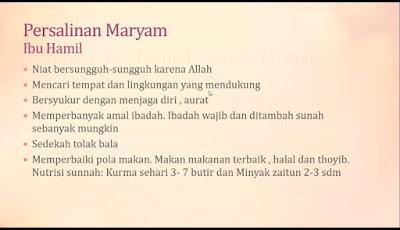 Tips Persalinan Maryam bagi ibu hamil