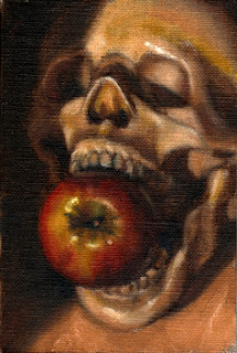 Oil painting of a plastic human skull with an apple in its mouth.