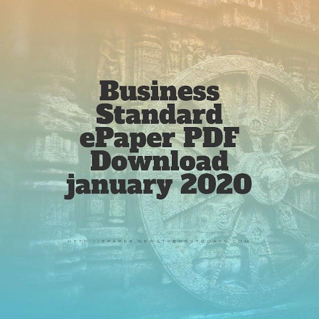 Business Standard ePaper PDF Download january 2020