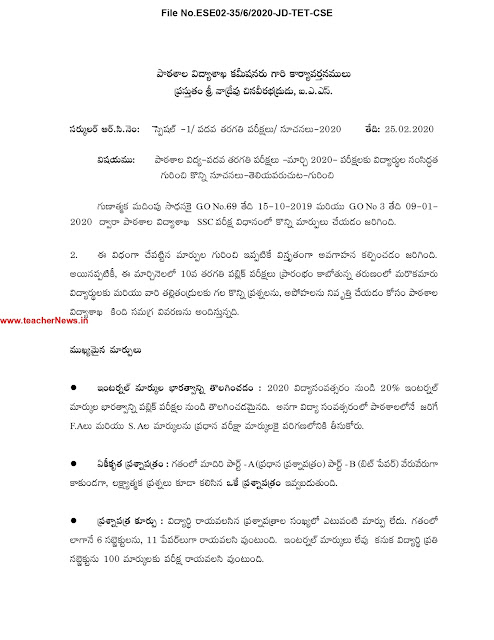 AP 10th Class Public Exam Instructions 2020 New Gradings, Subject wise Question Paper Pattern Marks
