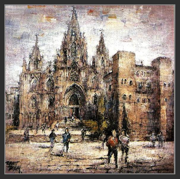 CATEDRAL-BARCELONA-PINTURA-ART-BARRI GOTIC-MONUMENTS-ARTISTA-PINTOR-ERNEST DESCALS