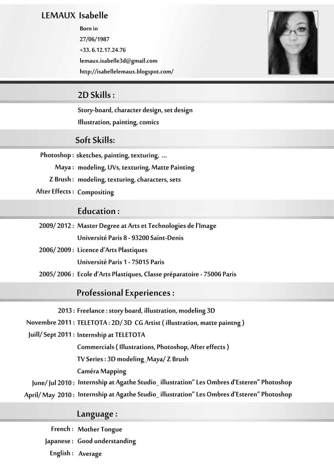 sample resume cv english