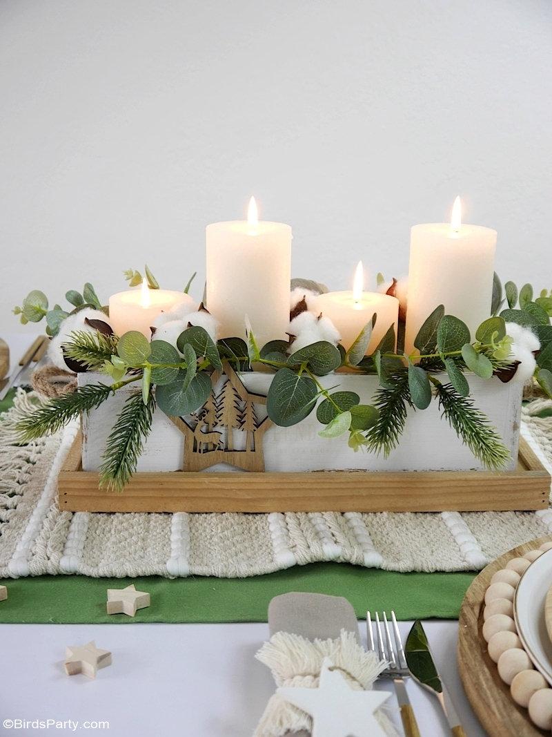 Table de Noël Nature avec Décoration DIY Faciles - décor de table à faire soi-même. Ce décor repensé est rapide, facile et économique!