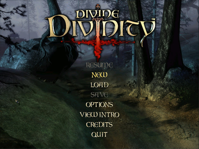 Divine Divinity main menu screen