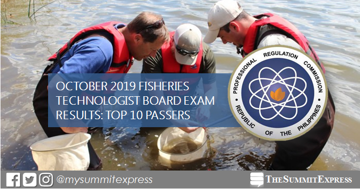 RESULT: October 2019 Fisheries Technologist board exam top 10 passers