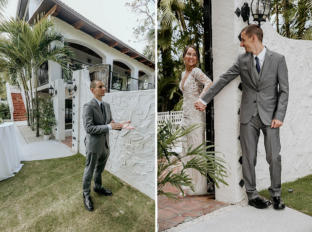 Groom waiting and seeing Bride for first look The Manor on St Lucie Crescent Wedding captured by Stuart Wedding Photographer Heather Houghton Photography