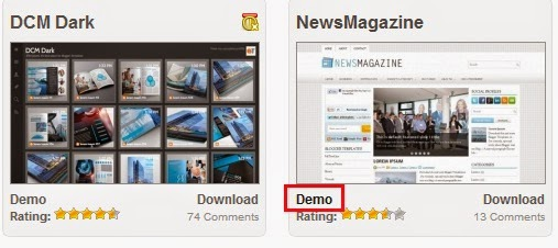 klik DEMO di bawah contoh gambar template blog yang anda pilih
