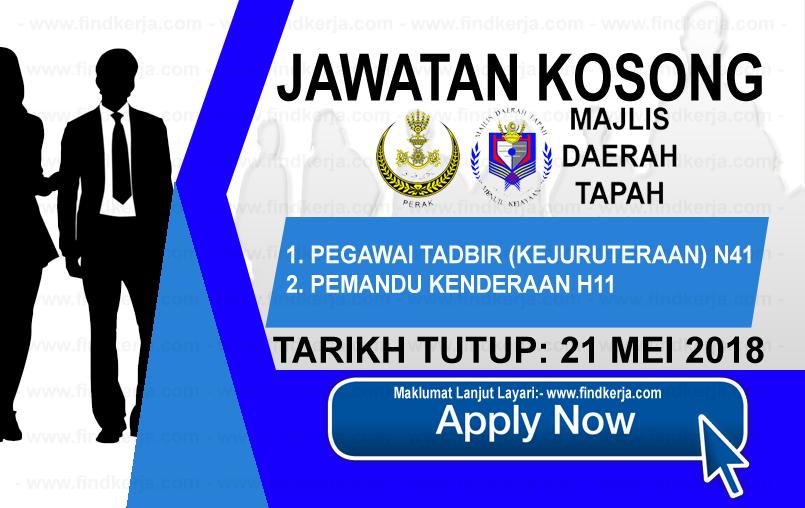Jawatan Kerja Kosong Majlis Daerah Tapah logo www.findkerja.com mei 2018