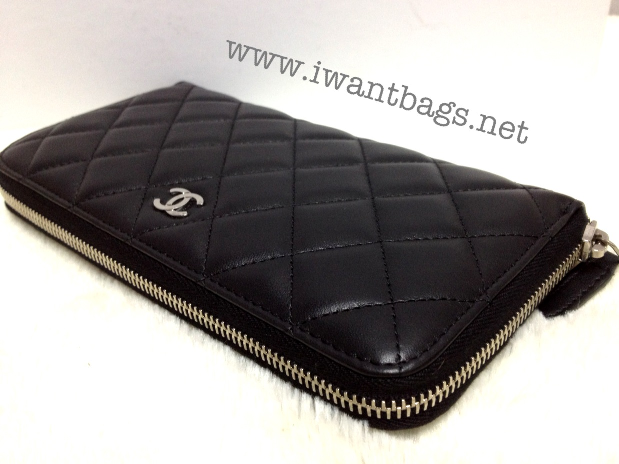 Chanel Classic Quilted Zip Around Wallet Black