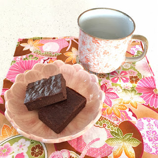 Eggplant Chocolate Brownies on Japanese fabric napkin