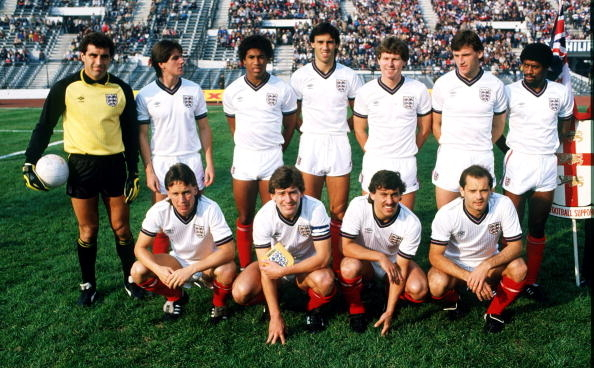 Formación de Inglaterra ante Chile, amistoso disputado el 17 de junio de 1984