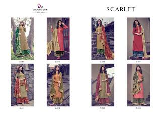 Angroop Plus Scarlet Tussar Silk Satin Salwar Kameez