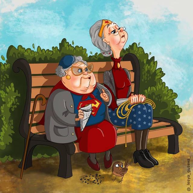 Mulher Maravilha sentada ao lado de outra senhora