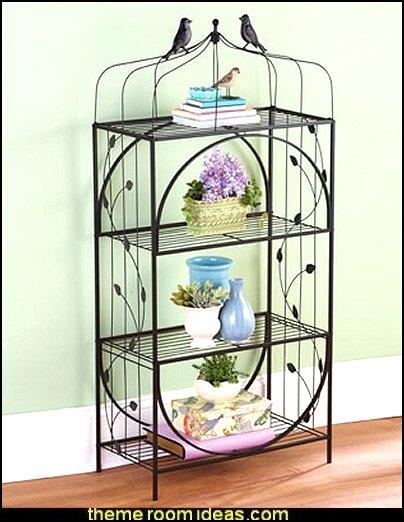 Birdcage 4-tiered Shelf,  birdcage bedroom ideas - decorating with birdcages - bird cage theme bedroom decorating ideas - bird themed bedroom design ideas - bird theme decor - bird theme bedding - bird bedroom decor - bird cage bedroom decor