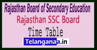 Rajasthan Board 10th Class Time Table 2018