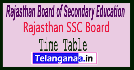 Rajasthan Board 10th Class Time Table 2019