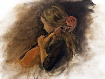 musician, painting, oil, cello, portrait,
