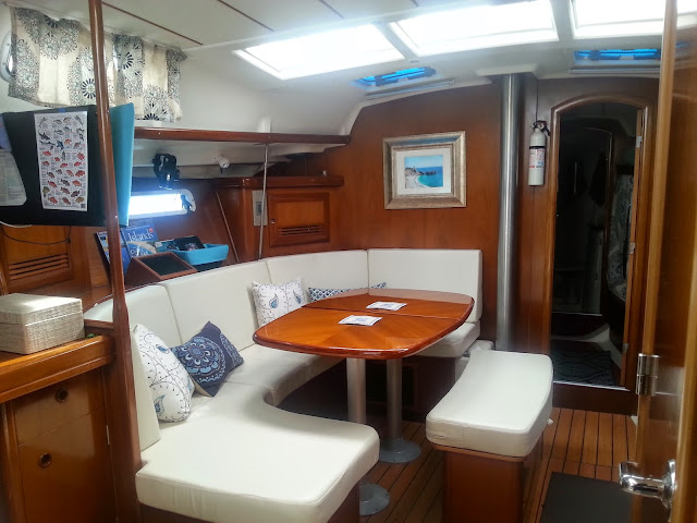 interior of boat with new cushions
