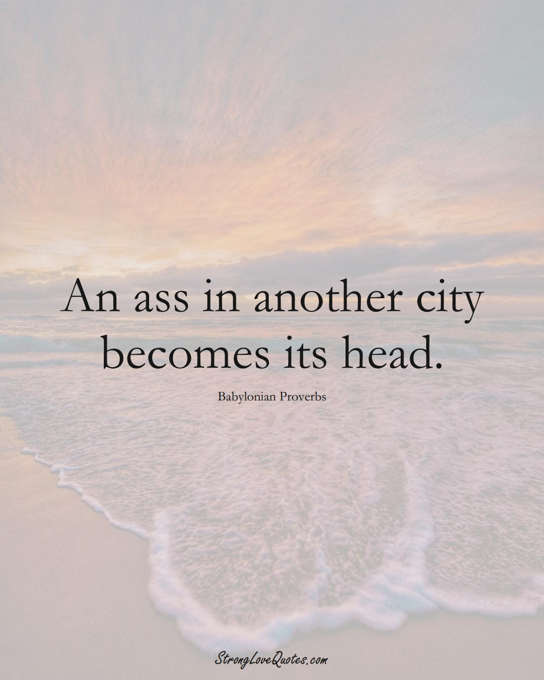 An ass in another city becomes its head. (Babylonian Sayings);  #aVarietyofCulturesSayings