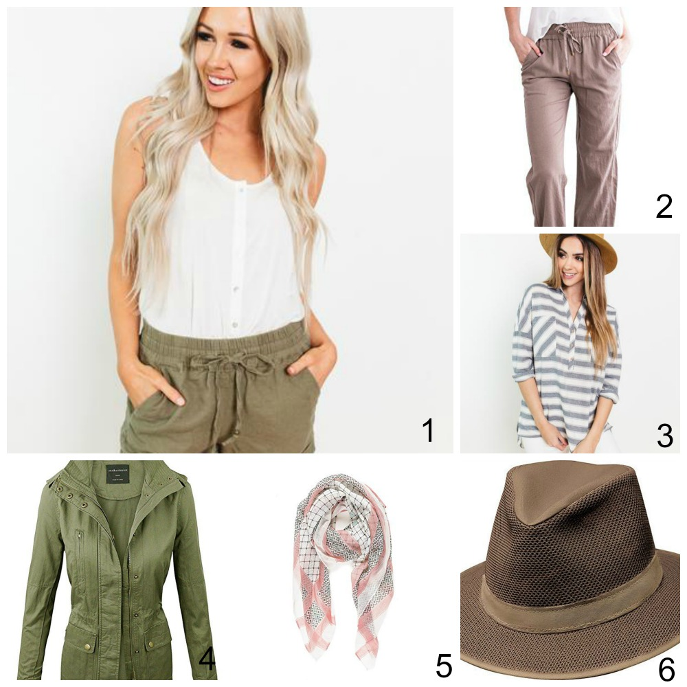 layered clothing items for african safari